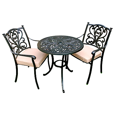 LG Outdoor Devon 2 Seater Garden Bistro Table and Chairs Set, Bronze