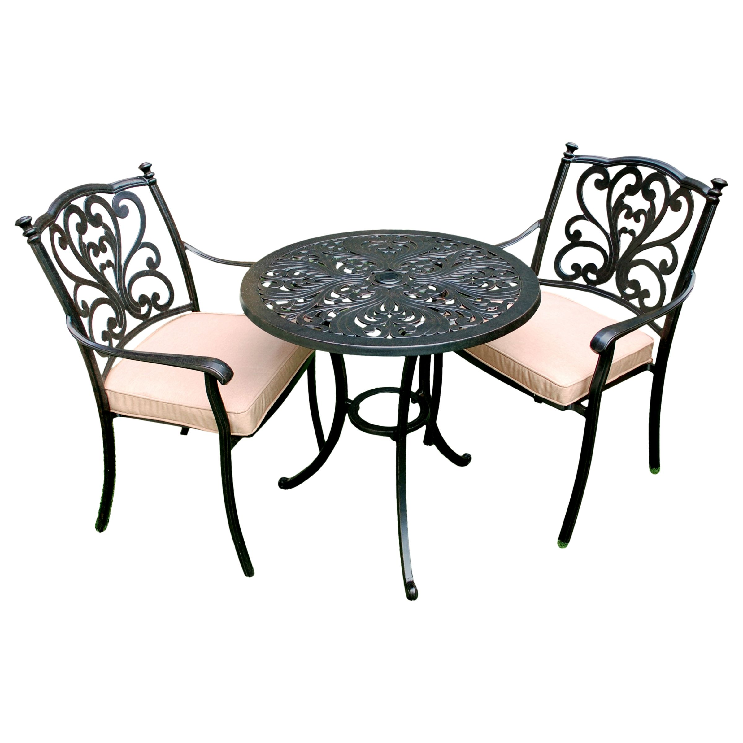 LG Outdoor LG Outdoor Devon 2 Seater Garden Bistro Table and Chairs Set, Bronze