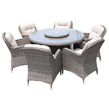 Buy LG Outdoor Marseille 6 Seater Round Dining Set With Lazy Susan, Brown Online at johnlewis.com