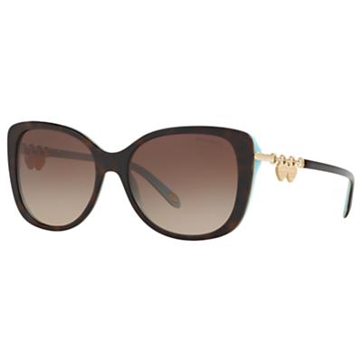 Tiffany & Co TF4129 Rectangular Sunglasses, Tortoise/Brown Gradient