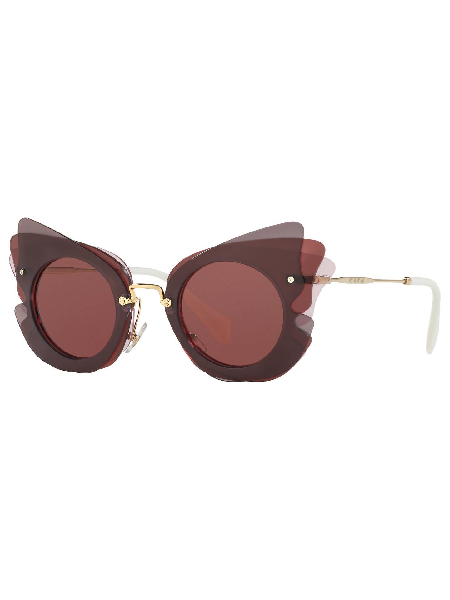 0d3b473b16bb Buy Miu Miu MU 02SS Triple Butterfly Frame Sunglasses, Dark  Brown/Terracotta Online at ...