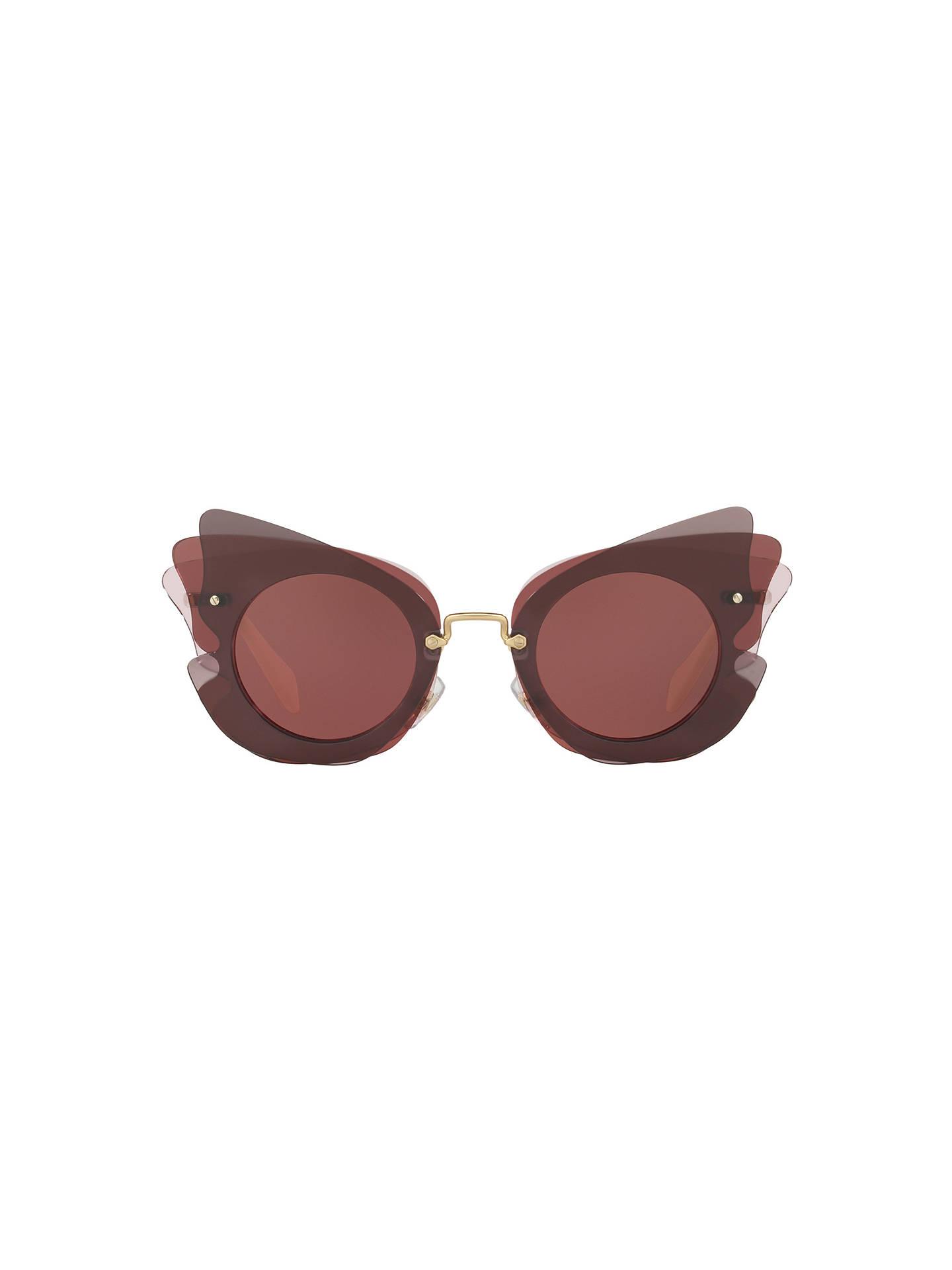 e428e0bb05d9 ... Buy Miu Miu MU 02SS Triple Butterfly Frame Sunglasses, Dark  Brown/Terracotta Online at ...