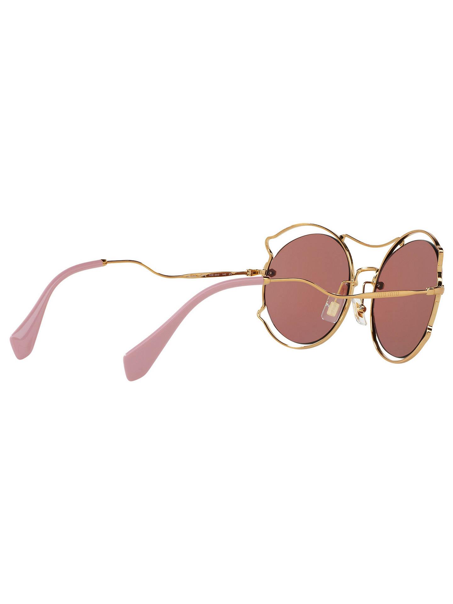 9ca43322acda Buy Miu Miu MU 50SS Geometric Sunglasses, Gold/Dark Pink Online at  johnlewis.