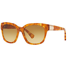 Buy Ralph RA5221 Square Sunglasses, Light Havana/Beige Gradient Online at johnlewis.com