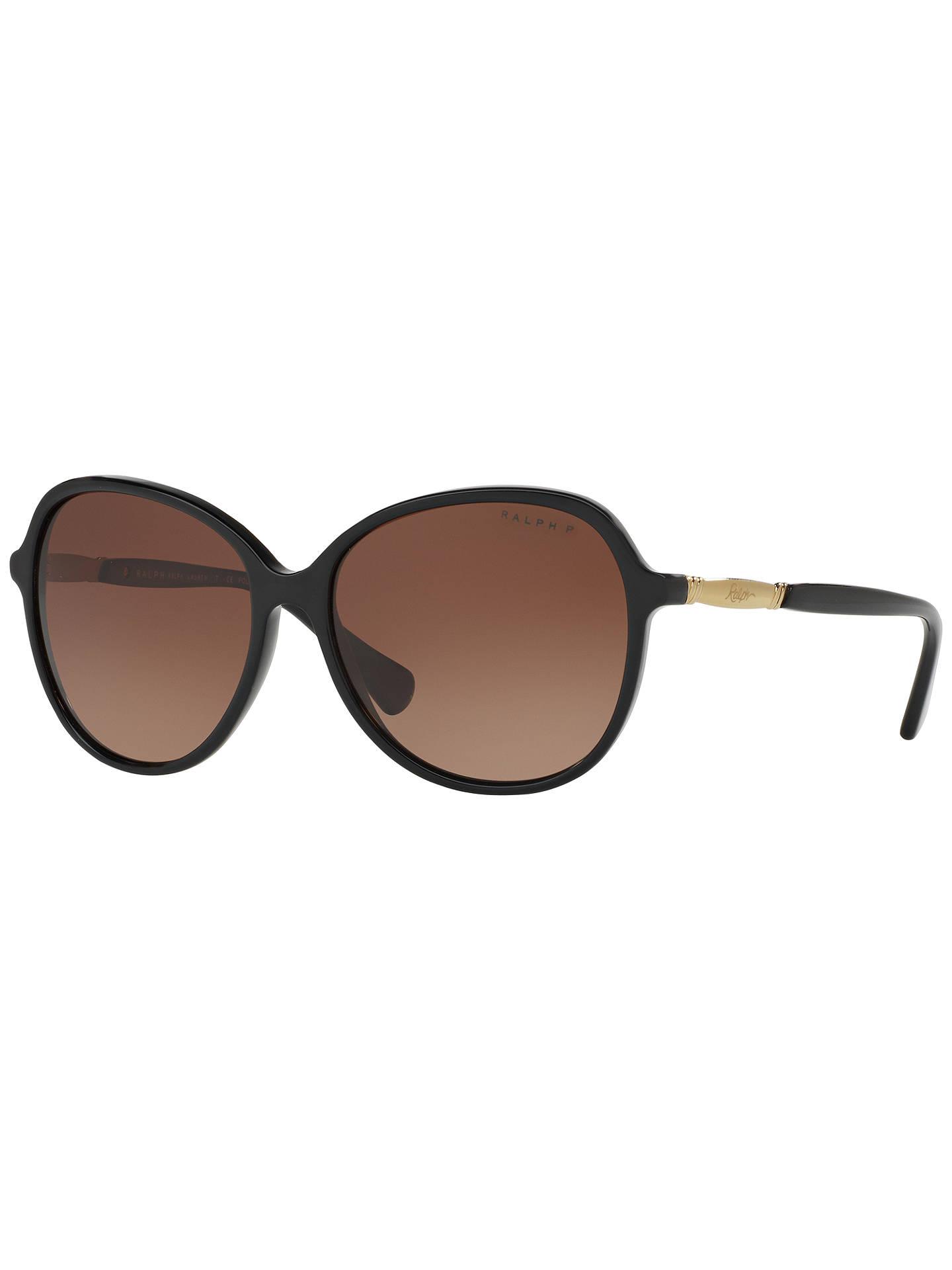 bc6a9ad1417c Buy Ralph RA5220 Women's Polarised Oversize Square Sunglasses, Matte  Black/Brown Gradient Online at ...