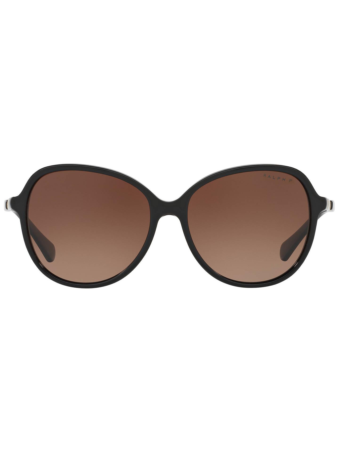 6c22e7a7da54 ... Buy Ralph RA5220 Women's Polarised Oversize Square Sunglasses, Matte  Black/Brown Gradient Online at ...