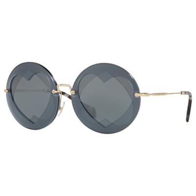 Miu Miu MU 01SS Round Sunglasses, Gold/Dark Grey