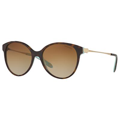 Tiffany & Co TF4127 Polarised Oval Sunglasses, Tortoise/Brown Gradient