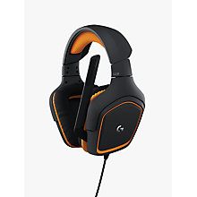 Buy Logitech G231 Prodigy Gaming Headphones, Black/Orange Online at johnlewis.com