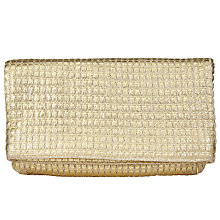 Buy John Lewis Woven Foldover Clutch Bag, Gold Online at johnlewis.com