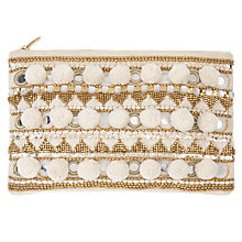 Buy AND/OR Pom Pom Mirror Clutch Bag, Cream Online at johnlewis.com