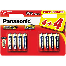 Buy Panasonic Pro Power Alkaline AA Batteries, Pack of 4 + 4 for Free Online at johnlewis.com