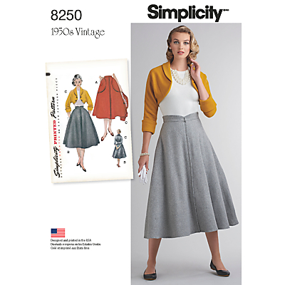 1950s Sewing Patterns- Dresses, Skirts, Tops, Pants Simplicity Misses Womens Vintage 1950s Skirt and Bolero Sewing Pattern 8250 £8.95 AT vintagedancer.com