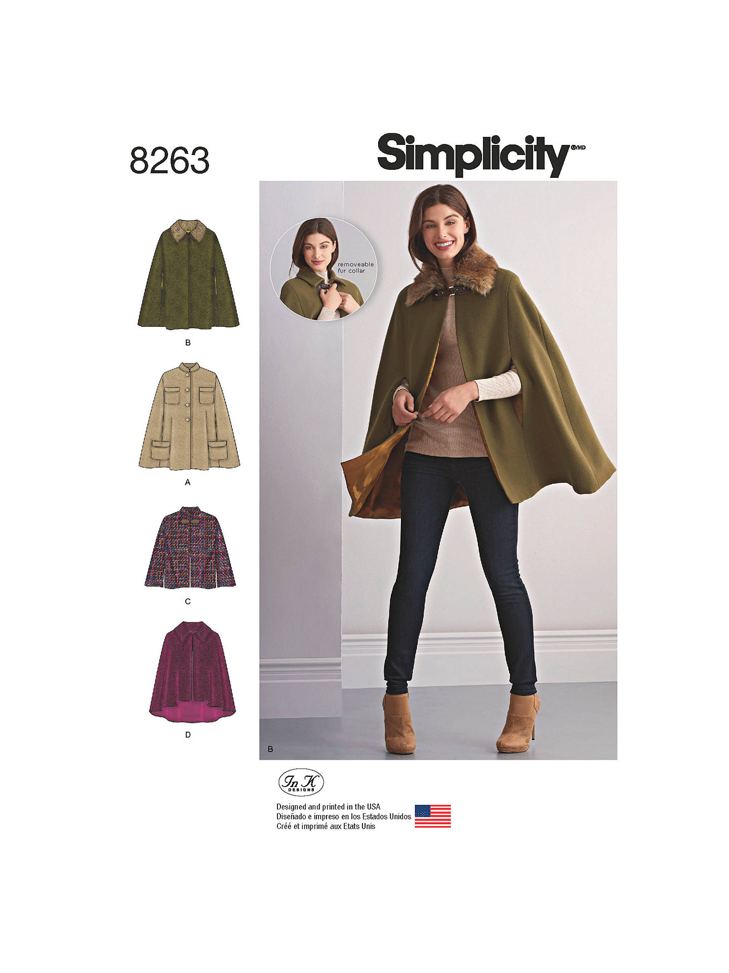 Simplicity Capes and Capelets Sewing Pattern, 8263, A at John Lewis ...