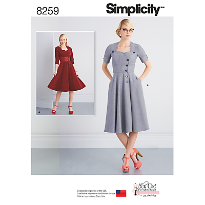 1950s Sewing Patterns- Dresses, Skirts, Tops, Pants Simplicity Misses Sew Chic Button Front Dresses Sewing Pattern 8259 £8.95 AT vintagedancer.com