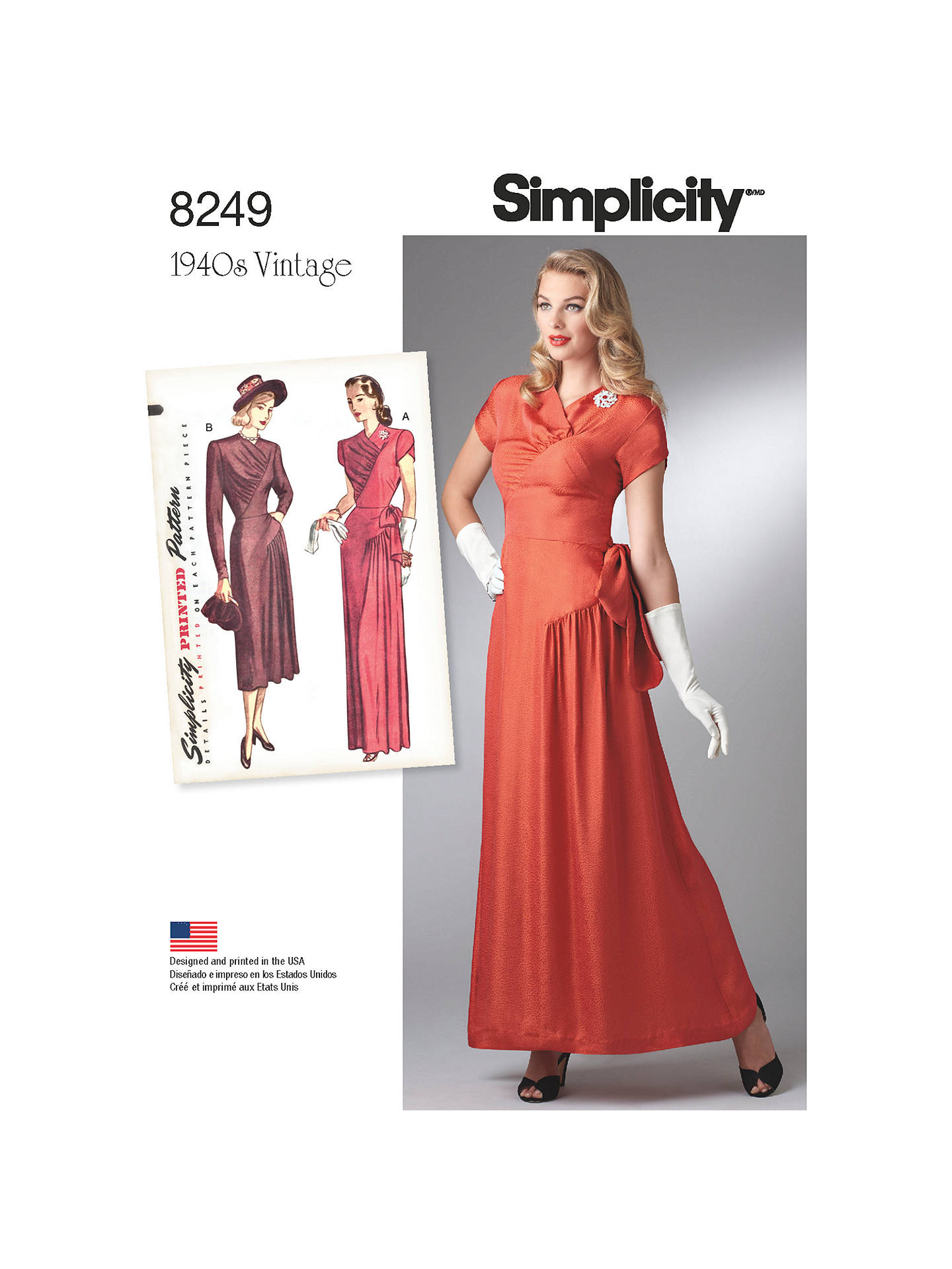 75982fb841956 Buy Simplicity Vintage Women's 1940s Gown and Dress Sewing Pattern, 8249,  H5 Online at ...