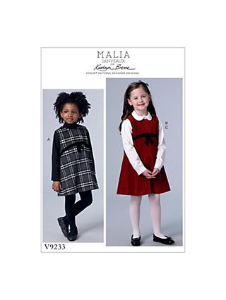 Vogue Children's Dress and Blouse Sewing Pattern, 9233