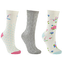 Buy John Lewis Hummingbird Print Ankle Socks, Pack of 3, Cherry Blossom/Multi Online at johnlewis.com