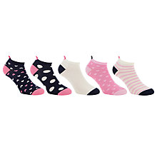 Buy John Lewis Heart Welt Trainer Socks, Pack of 5, Pink/Navy Online at johnlewis.com