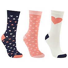 Buy John Lewis Heart Stripe Ankle Socks, Pack of 3, Multi Online at johnlewis.com