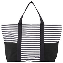Buy John Lewis Stripe Canvas Tote Bag, Navy / Nude Online at johnlewis.com