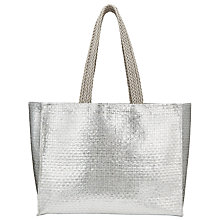 Buy John Lewis Straw Grab Bag, Silver Online at johnlewis.com