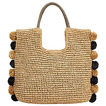 Buy John Lewis Pom Pom Straw Grab Bag Online at johnlewis.com
