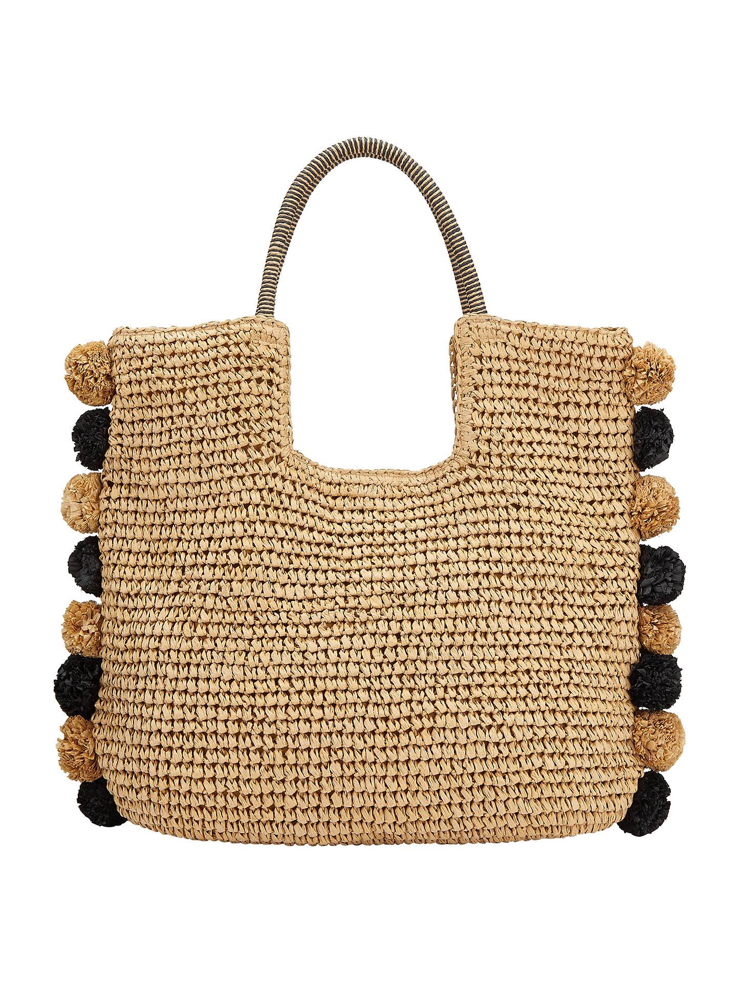 lowest price 5536c 3b5e1 BuyJohn Lewis Pom Pom Straw Grab Bag, Black  Neutral Online at  johnlewis.com ...