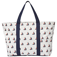 Buy John Lewis Boat Print Canvas Tote Bag, Navy / Nude Online at johnlewis.com