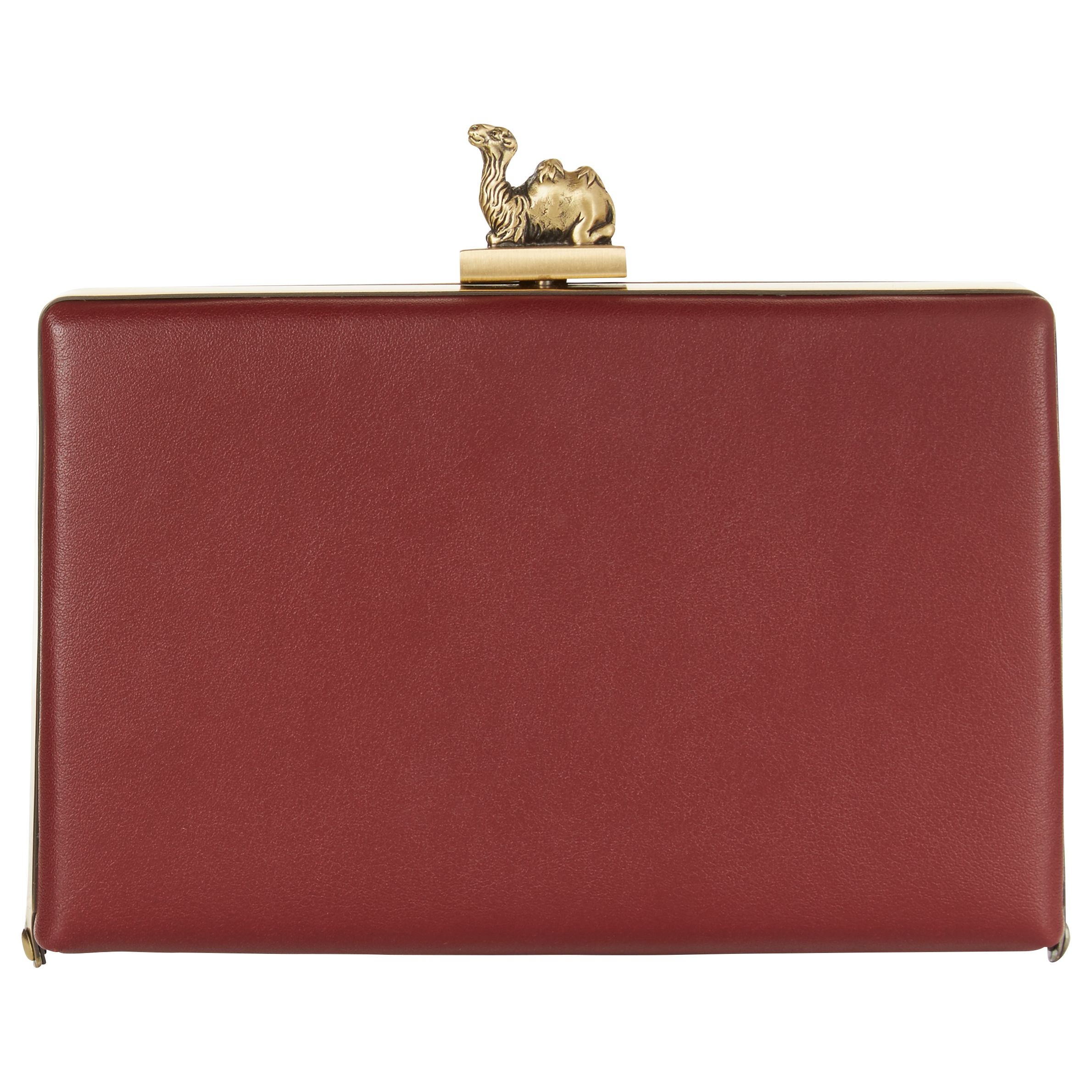 1f6be8b981b804 Jaeger Leather Camel Clasp Box Clutch Bag at John Lewis   Partners