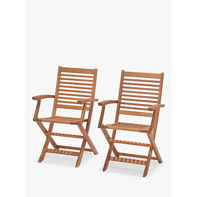 John Lewis & Partners Venice Folding Armchairs, FSC-Certified (Eucalyptus), Pair, Natural