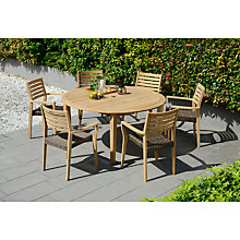 Buy John Lewis Longstock Round Garden Dining Table & 6 Woven Stacking Armchairs, FSC-Certified (Teak), Natural Online at johnlewis.com