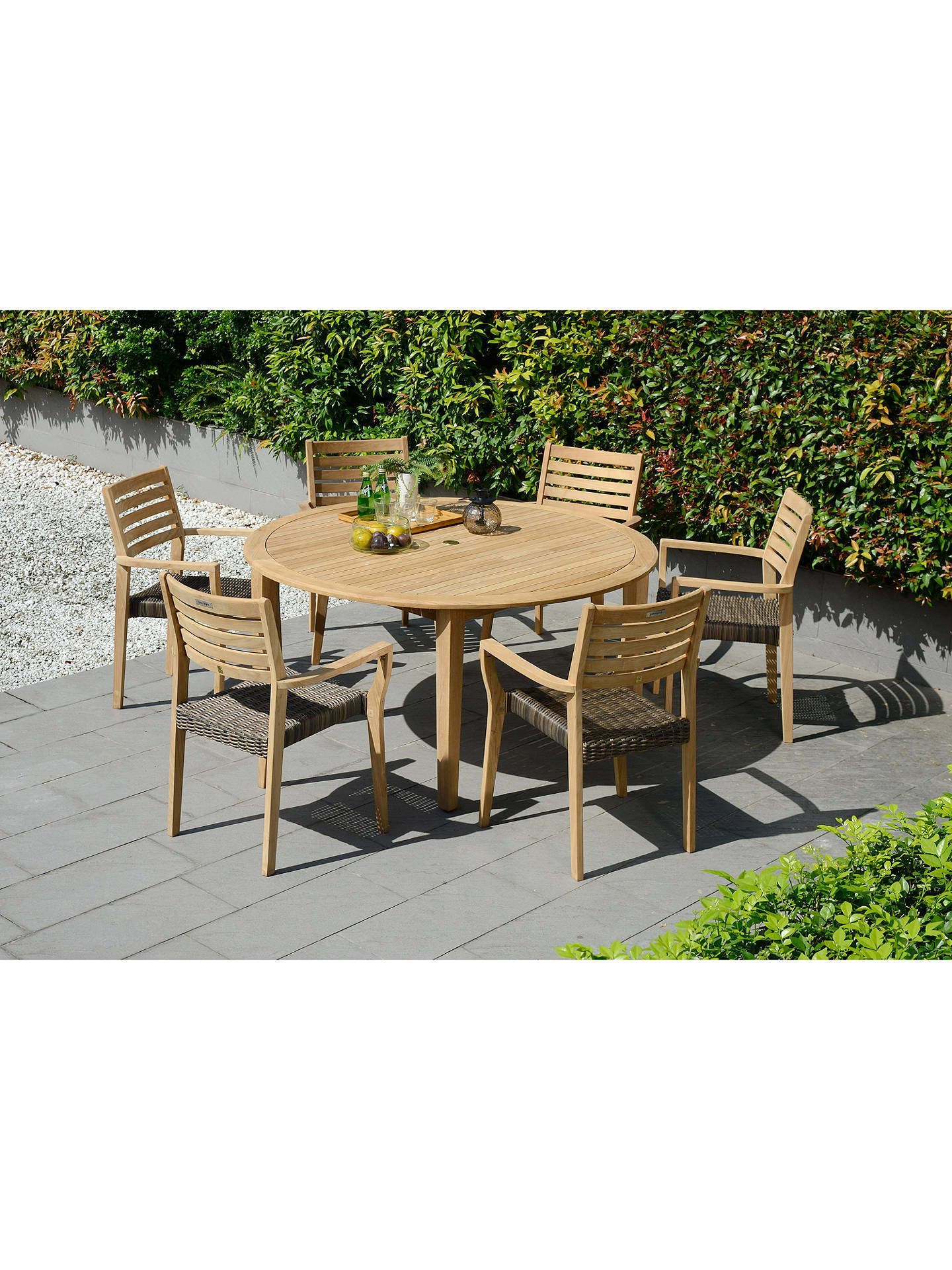 Buyjohn lewis longstock round garden dining table 6 woven stacking armchairs fsc certified