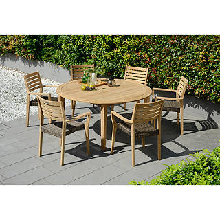 John Lewis Longstock Round Garden Dining Table 6 Woven Stacking Armchairs FSC Certified Teak Natural