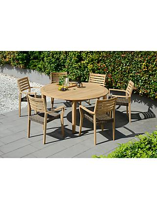 John Lewis Longstock Round Garden Dining Table & 6 Woven Stacking Armchairs, FSC-Certified (Teak), Natural