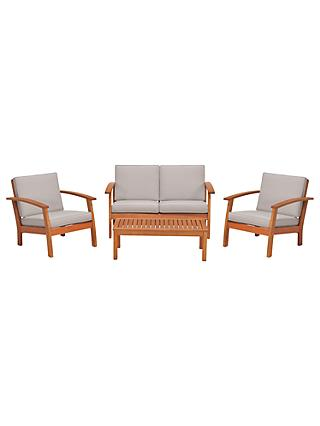 John Lewis & Partners Venice 4 Seater Garden Lounging Set, FSC-Certified (Eucalyptus), Natural