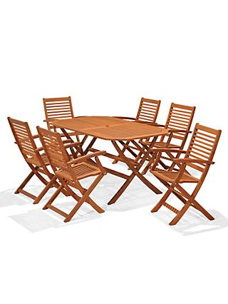 John Lewis & Partners Venice Garden Gateleg Table & 6 Folding Armchairs, FSC-Certified (Eucalyptus), Natural
