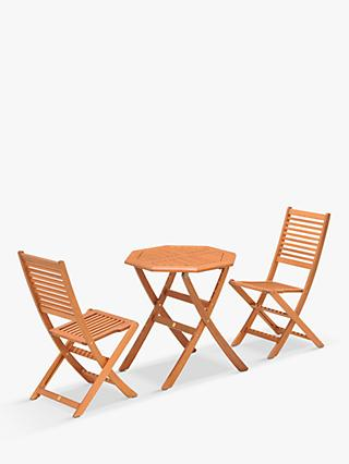 John Lewis & Partners Venice 2-Seat Folding Garden Bistro Set, FSC-Certified (Eucalyptus Wood), Natural