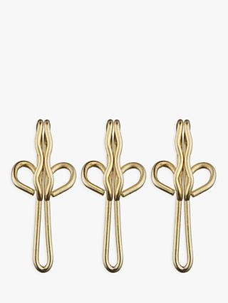 John Lewis & Partners Brass Plated Curtain Hooks, Pack of 30