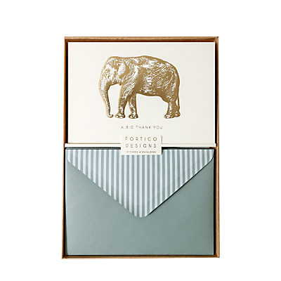 Image of Portico Elephant Thank You Notecards, Box of 10