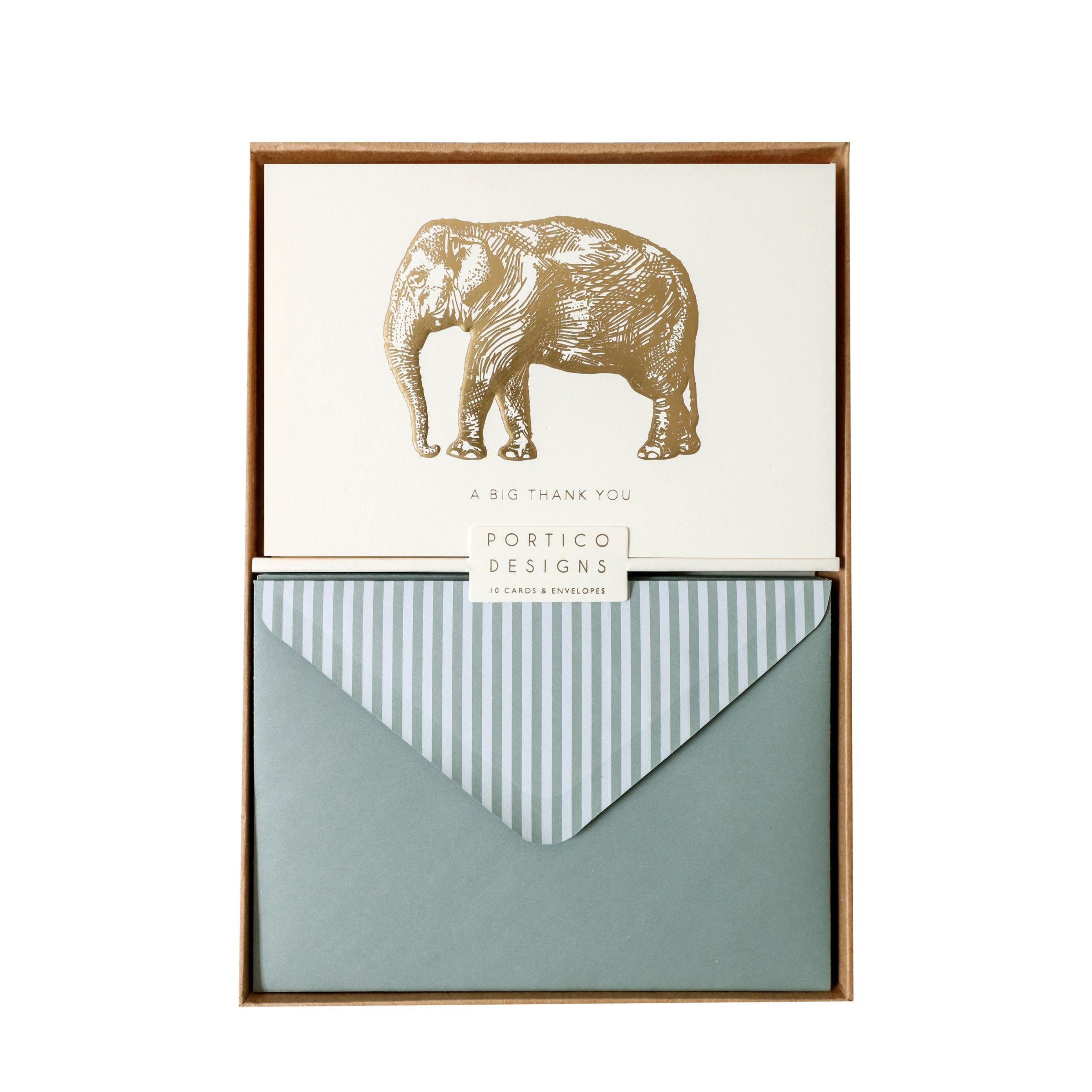 Portico Portico Elephant Thank You Notecards, Box of 10