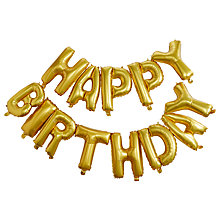 Buy Ginger Ray Happy Birthday Balloon Bunting, Gold Online at johnlewis.com