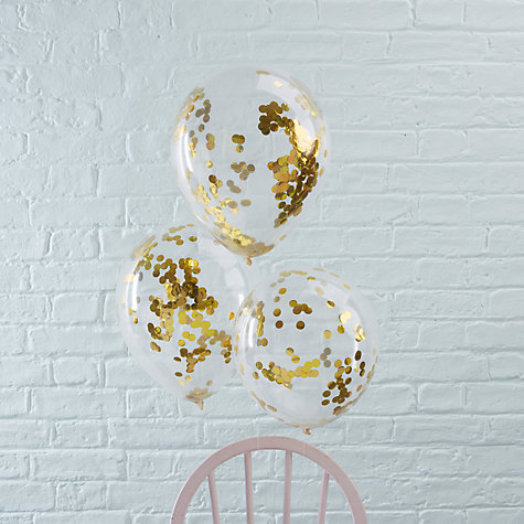 Buy Ginger Ray Gold Confetti Balloons, Pack of 5 Online at johnlewis.com