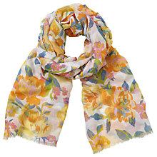 Buy John Lewis New Summer Rose Floral Print Scarf, Yellow/Multi Online at johnlewis.com
