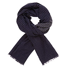 Buy AND/OR Criss Cross Textured Polka Dot Scarf, Navy Mix Online at johnlewis.com