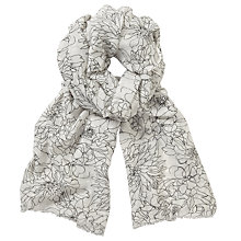 Buy John Lewis Line Drawn Floral Print Scarf, White/Black Online at johnlewis.com