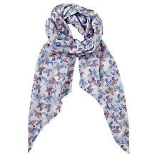 Buy John Lewis Birds Print Skinny Scarf, Blue Mix Online at johnlewis.com