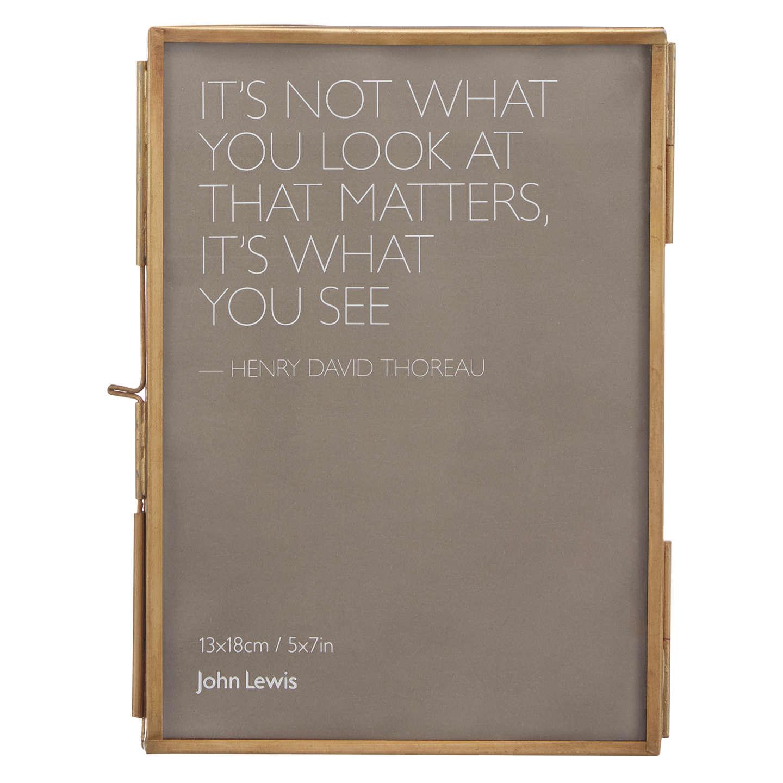 "John Lewis Antique Freestanding Photo Frame, 5 X 7"" (13 X 18cm), Brass by John Lewis"