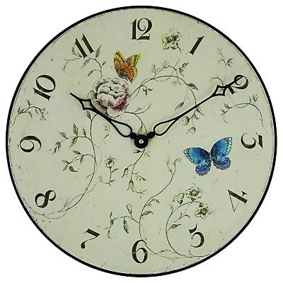 Lascelles Butterfly Floral Wall Clock, Dia.36cm, Cream