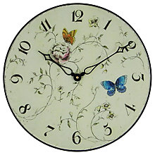 Buy Lascelles Butterfly Floral Wall Clock, Dia.36cm Online at johnlewis.com